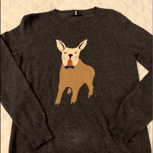 J Crew French bulldog sweater.